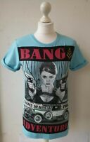 MADMEXT T-SHIRT S UK10 turquoise stretch graphic film noir femme fatale