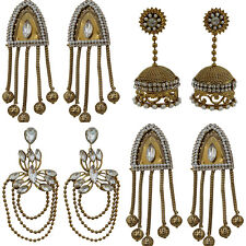 Jwellmart Indian Oxidized Silver Traditional Ethnic Bali Jhumka Pearl Earrings