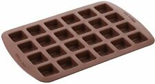 Silicone Brownie Square Baking Pan Mold Tray Mini Cookie Chewy Bite 24 Cavity