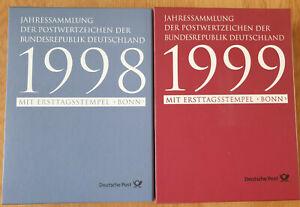 Bund 1998 und 1999 Jahressammlung mit Ersttagsstempel Bonn im Schuber