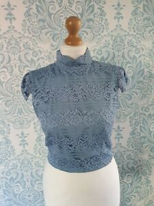 Alice + Olivia Light Blue Cropped Lace Top Size 6