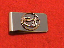 Hand cut Oregon state quarter 24 kt gold plated mounted as a money clip