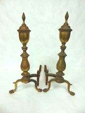 PR OF ANTIQUE FEDERAL CHIPPENDALE BRASS & IRON ANDIRONS W/ CLAW FEET & URNS