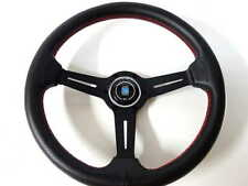 """High Quality Nardi Style Leather 13.8"""" Strong Black Spoke Racing Steering Wheel"""