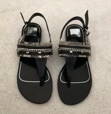 Dolce Vita Thong Black Chain Detail Sandals Size 7.5