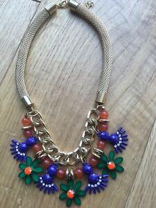 Amazing gold navy orange green statement flower multicolored necklace