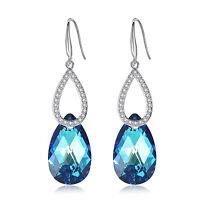 Leafael Swarovski Crystal Double Teardrop Hoop Blue Dangling Silver Earrings