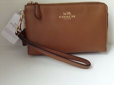 NWT $85 Coach Leather Double Zip Saddle Brown Phone Wristlet #F64581 Coach Box