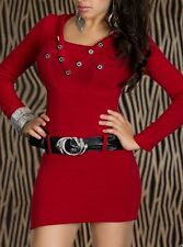 Sexy Miss Femme Mini Robe Long Pull Capuche Ceinture 34/36/38 Rouge Top Neuf