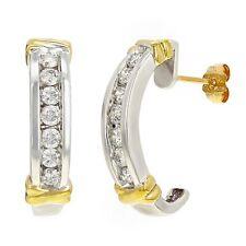 14k White & Yellow Gold 1ctw Diamond Half-Hoop Curve Earrings