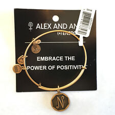 Alex and Ani NWT Initial N Bangle Russian Gold with card in white gift box