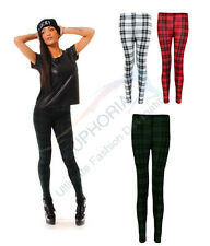 New Ladies Girls Red Green White Tartan Stretchy Leggings S/M M/L Full Length