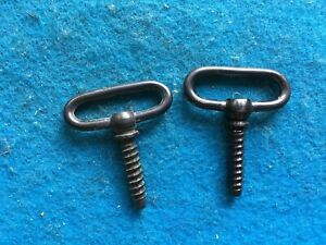 """VINTAGE 1 1/8"""" SLING SWIVELS-BLUED-USED-SCREW IN TYPE-WINCHESTER? REMINGTON?"""