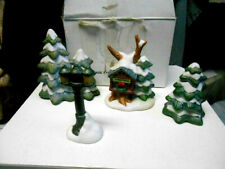 Homco 2 pine trees + birdhouse tree + light pole 4 piece set #5106 figurines