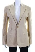 Ralph Ralph Lauren Womens Button Up Collared Blazer Jacket Beige Size 10