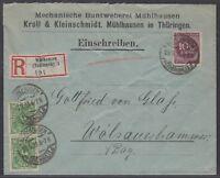 1008) MÜHLHAUSEN Thüringen 1923 Einschreiben Brief nach Wölsauerhammer