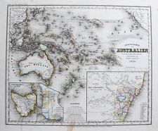 1850 Australien Australia Tasmanien Neuseeland Stahlstich-Landkarte Radefeld