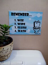 A5 Blue Bubbles Children Kids Fun Toilet Training Positive Reminder Sign Poster