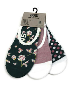 VANS Women's No Show Socks Liners Multicolor 3 Pack Size 6.5 - 10 Floral Dots