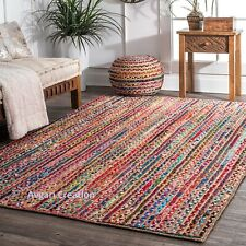 Rug Jute Cotton Natural  braided Bohemian Rag Rug, Home Decor Rug, Runner Rug,