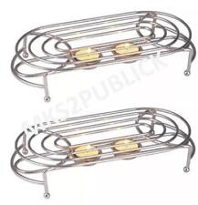 2 X DOUBLE FOOD WARMER CHAFING CHROME PLATE BURNER WITH 4 TEA LIGHTS