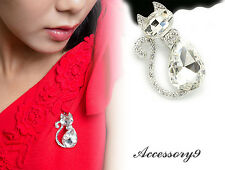 white clear Austrian crystal cat rhinestone silver kitty Brooch scarf pin D31