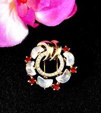 '49 TRIFARI CLAIR DE LUNE MOONSTONE RUBY RED RHINESTONE WREATH BROOCH DRESS CLIP