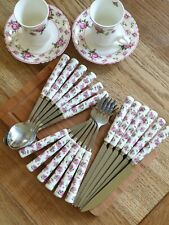 18 peice Spoons Knives Forks set Porcelain Ceramic Steel Shabby Floral Cutlery