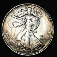 1945-S Walking Liberty Half Dollar CHOICE BU TONED FREE SHIPPING E341 AMT