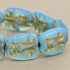 (10) Czech Glass Beads - 13x11mm Easter Island Face Aqua Blue Opaline w/ Bronze