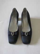 d79fc3078bd5 Kurt Geiger navy blue satin court shoes with block heels