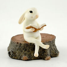 Miniature Bunny Reading on Stump TO 4390  Fairy Garden Bunny Rabbit