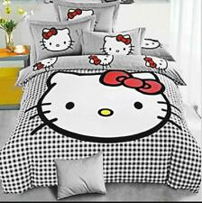 SinghsVillas Decor Hello Kitty King Size Double Bedsheet 2 Pillow Covers (Grey)