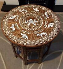 Hecho a mano con incrustaciones de indio Taj Mahal Mesa elefantes y diseño de León