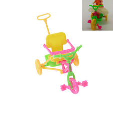 Cute Plastic Bike Tricycle with Push Handle for Dolls Kids Gift FBCA