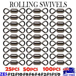 Rolling Swivels Fishing Swivel BULK BUY #12 #10 #8 #6 Bream Whiting Flathead