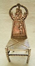DUTCH ANTIQUE SILVER MINIATURE CHAIR DECORATED