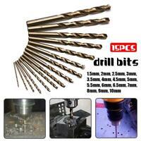 15pc/Set Drill Bit 1.5-10mm M35 HSS Cobalt Straight Shank Twist Hole Saw Cutter