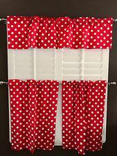 lovemyfabric White Polka Dots/Spots on Red Print 3-Piece Curtain/Valance Set