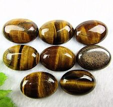 8PCS Beautiful unique brown tiger eye gemstone oval CAB cabochon Vk553