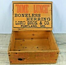 New listing Antique Advertising Display Box Lord Bros Maine Dime Lunch Boneless Herring