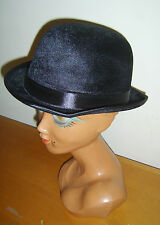 BLACK VELOUR BOWLER HAT EDWARDIAN CHARLIE CHAPLIN VICTORIAN FANCY DRESS COSTUME