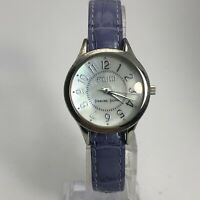 Ecclissi Womens Sterling Silver Round Analog Quartz Wristwatch Leather Band
