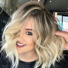 Short Bob Curly Synthetic Hair Wig Ombre Blonde Side Part Dark Roots Full Wigs