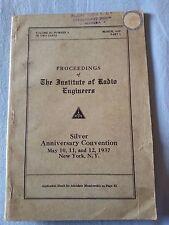 Proceedings IRE Institute Radio Engineers 1937 Radio Epoca PHILIPS ZENITH MONZA