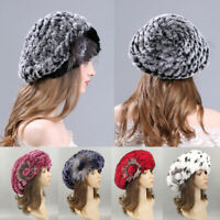 Winter Luxury Women Beret Hat Ladies Rex Rabbit Fur Knitted Warm Beanie Cap
