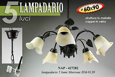 Lampadario sospensione a cinque luci in ferro decorato con cappe in vetro