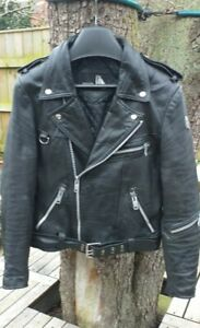 Vintage German Krawehl Black Leather Biker Jacket. Small.Measurements on listing