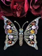 Brooch Multi Color Crystal Stunning Large Heidi Daus Butterfly Trembler