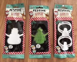 2 x Festive Glowing Necklaces & 2 x Bracelets - Glow In The Dark, Glow Stick NEW